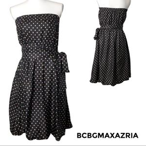 BCBGMAXAZRIA Silk Polka Dot Strapless MIDI Dress